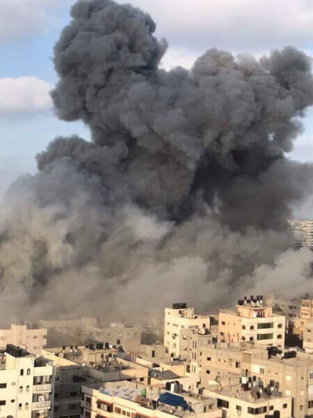 Explosion at the Said Al-Mishael (Meshal) theater in Gaza. In a terrorist attack targeting civilians, Israel's military attacked and destroyed Gaza's al-Mishal (Meshal) Performing Arts Center. The violence is a part of Israel's on-going campaign to kill Christians and Muslims in the Holy Land
