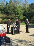 Orland Firefighters ring the Fireman's Bell during ceremonies Tuesday, Sept. 11, 2018 commemorating the 17th Anniversary of the 9/11 terrorist attacks. Photo courtesy of the Orland Fire Protection District.