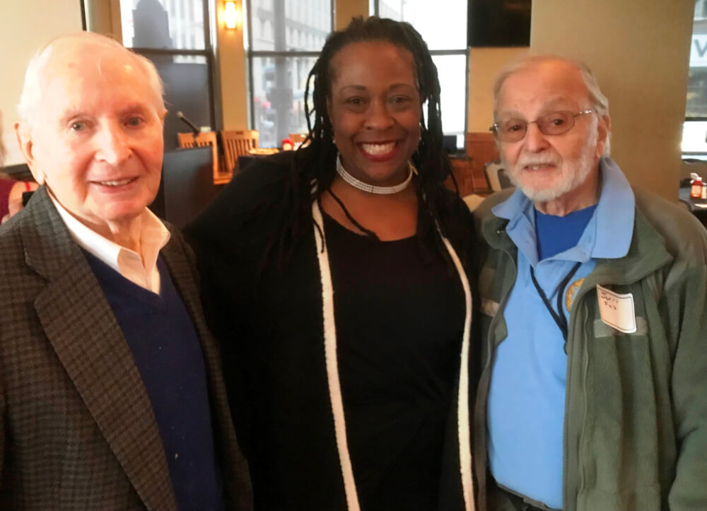 Allan Rafalson,CJA Maudlyne Ihejirika CVA president and Dr Jerry Field President emertus International Press Club of Chicago (both Rafalson andField are veterans. Photo courtesy of Jerry Field