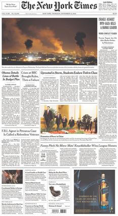 Front Page of the New York Times, photo courtesy of Wikipedia