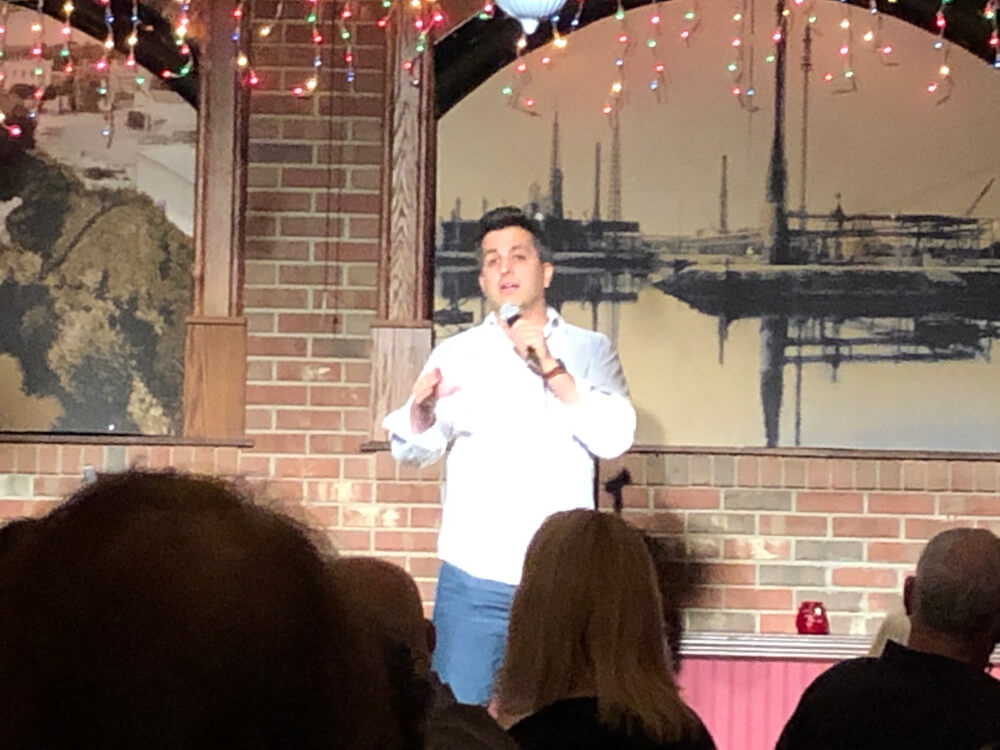 Comedian Paul Farahvar at the New Year's Eve show at Gelsosomo's Pizzeria in Lemont. Photo courtesy of Ray Hanania