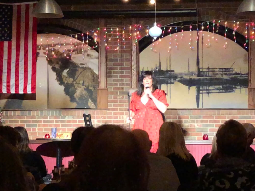 Comedian Amy Shankar at the New Year's Eve show at Gelsosomo's Pizzeria in Lemont. Photo courtesy of Ray Hanania