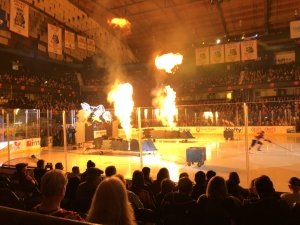 Flames light up the opening of the Wolves Hockey Games at the Allstate Arena in Rosemont. Photo courtesy of Ray Hanania