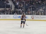 Wolves Hockey player #18 TJ Tynan from Orland Park on the ice at the Allstate Arena. Photo courtesy of Ray Hanania.