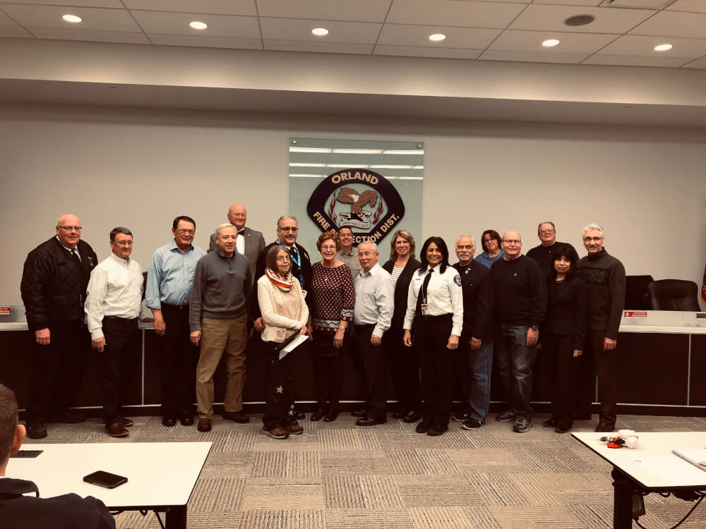 CERT Graduates pose with Orland Fire Protection District officials at the board meeting Tuesday, Feb. 26, 2019. Photo courtesy of the Orland Fire Protection District