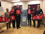 """Richton Park Village Manager Regan Stockstel, Facility Supervisor Geneen Robinson-Smith & Mayor Rick Reinbold were on hand when members of ComEd's External Affairs Team Michael Fountian, Bonita Parker, and Lisa Aprati recently stopped by to drop off blankets for Richton Park's sister City Cat Island Bahamas. The Blankets will be distributed to Senior citizens on Cat Island."""" The donation from our community partners at ComEd really put us over the top on our blanket drive and we are very grateful. """" stated Mayor Reinbold."""