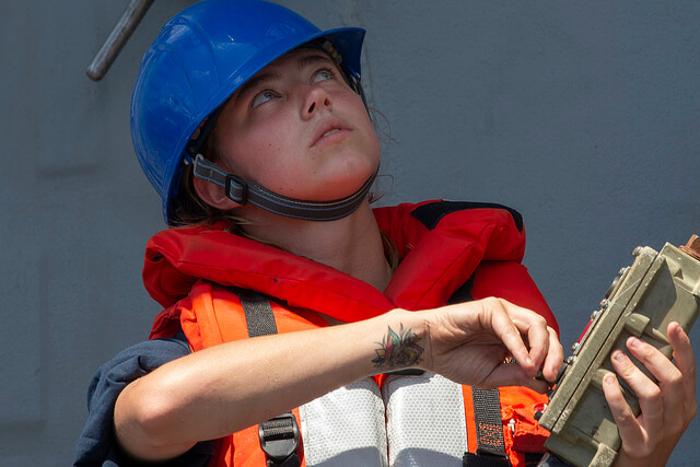 Oswego Navy Recruit works on guided missile destroyer
