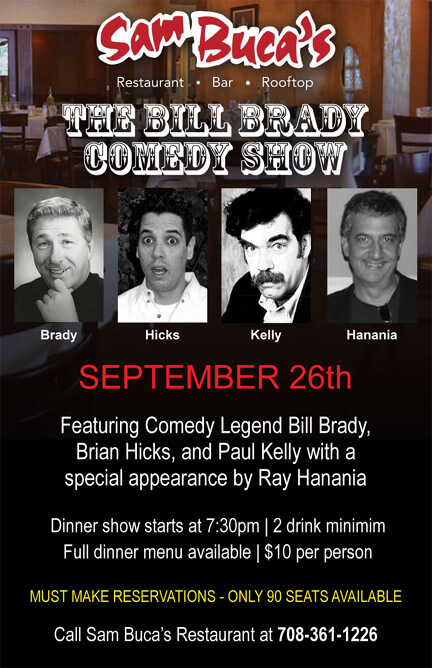 Sam Buca's Palos Heights comedy show Sept. 2012 poster