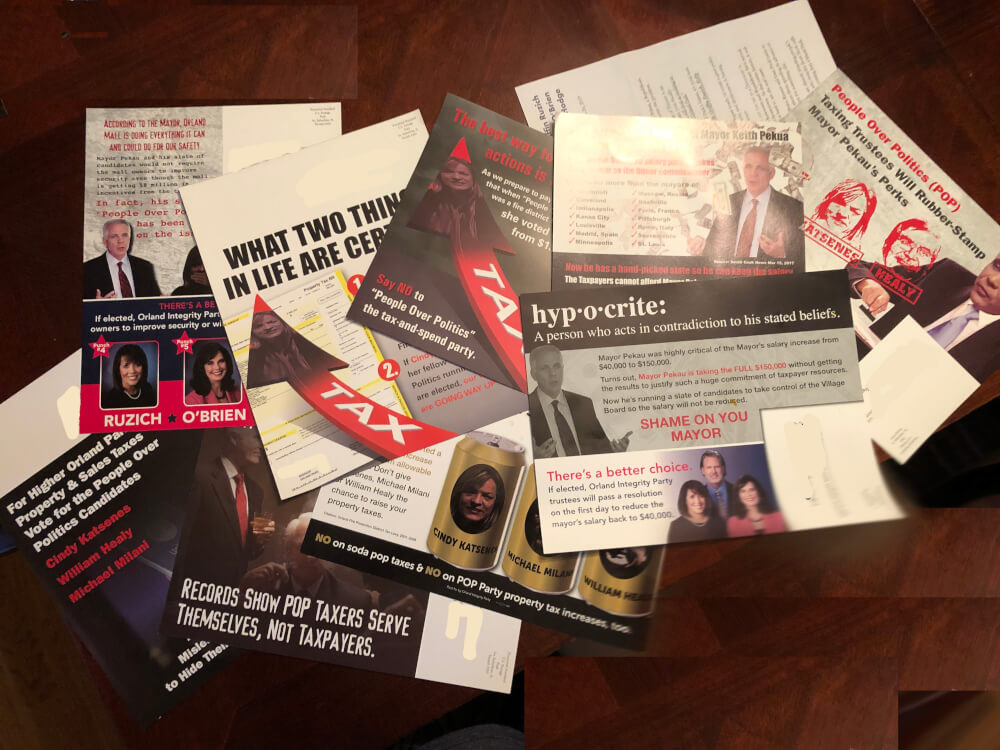 10 negative mailers sent out by the Orland Integrity Party in the April 2, 2019 trustee elections in Orland Park.