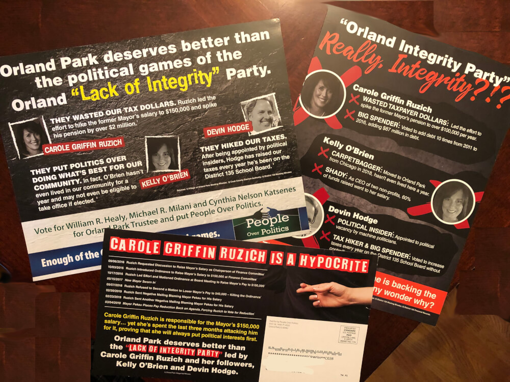 3 negative mailers sent out by the People Over Politics slate in the April 2, 2019 trustee elections in Orland Park.