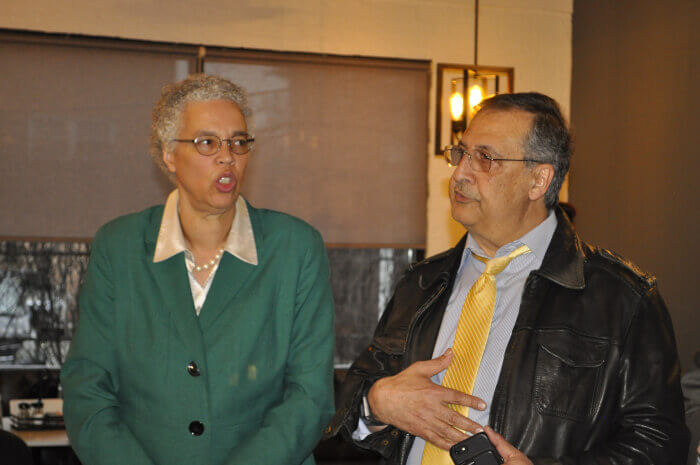 Arab American columnist Ray Hanania introduced Cook County Board President Toni Preckwinkle at a gathering of elected officials and Arab American leaders in honor of Arab American Heritage Month, April. Photo courtesy of Tasneem Abuzir