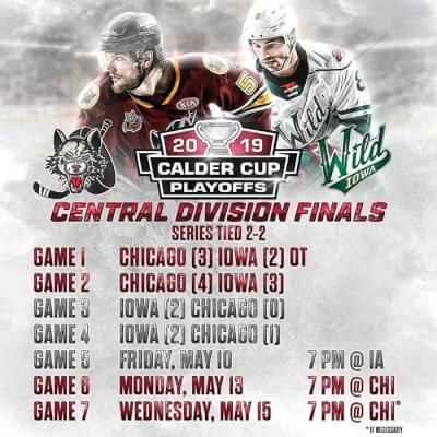 2338f683f5826 Iowa Wild edges out Chicago Wolves in 4th game of hockey playoffs