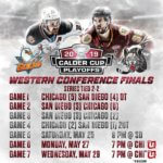Chicago Wolves versus San Diego Gulls 2 to 2 play-off game schedule Western Conference Finals