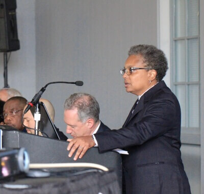 Lori Lightfoot speaking at Police Accountability Task Force hearing in 2016. Photo courtesy of Wikipedia