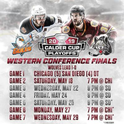 Wolves win first game in hockey's Western Conference Finals