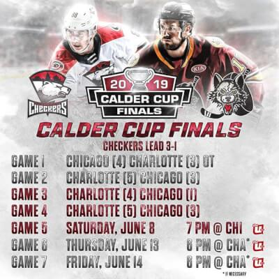 Final Calder Cup schedule Chicago Wolves and Charlotte Checkers. Photo courtesy of Chicago Wolves