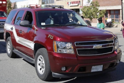 A typical Fire Department Command Vehicle, Red SUV