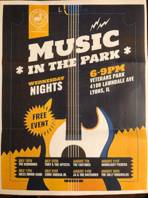 Lyons Music in the Park continues thru August 28