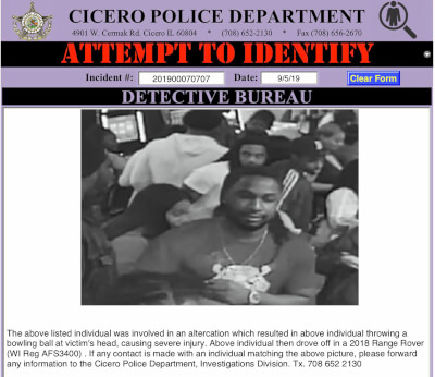 Suspect sought in Cicero Bowling Alley assault