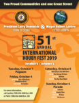 Carnival and food concessions open on Thursday and Friday Oct. 3 and 4, at 5 PM until 10 PM at Lombard Avenue and the L Strip. The Houby Festival continues Saturday Oct. 5 beginning at 12 noon. The Parade kicks-off on Sunday Oct. 6, 2019 at 12 noon at 54th Street along Cermak Road in Cicero and heads west to East Avenue in Berwyn.