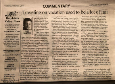 """Newspaper column on Travel, and """"Made in China"""" published Sept. 11, 2019"""
