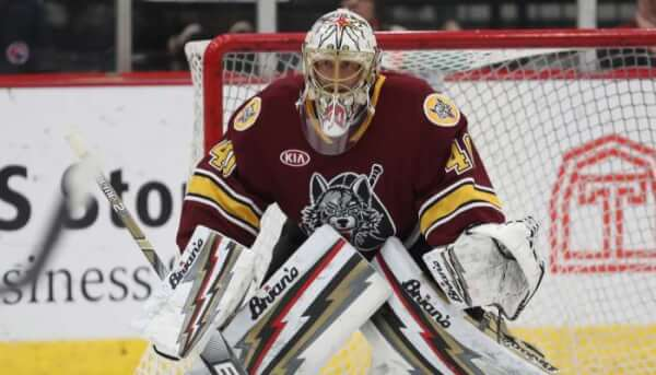 Goalie Garret Sparks of the Chicago Wolves. Courtesy of the Chicago Wolves.