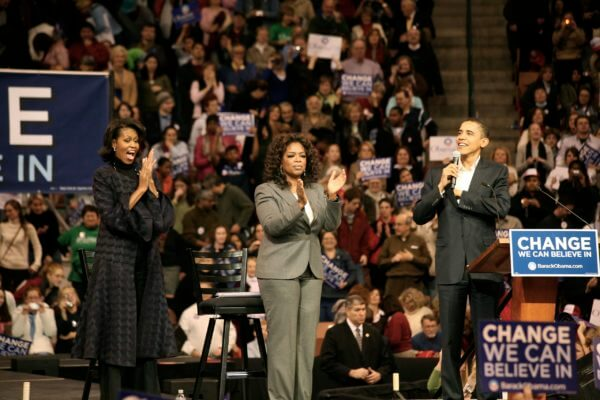 Oprah Winfrey joins Michelle and Barack Obama in 2007. Photo courtesy of Wikipedia