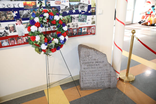 Memorial at the Town of CIcero Community Center to Joseph Philip Steffan a Cicero resident who died on Dec. 7, 1941 on the U.S.S. Arizona during the Japanese attack on Pearl Harbor.