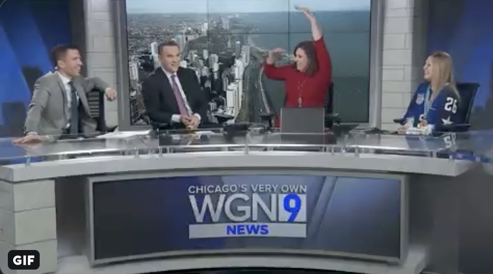 Pat Tomasulo on the set of WGN TV Morning News with Larry Potash, Robin Baumgarten and Morgan Kolkmeyer. Photo courtesy of Pat Tomasulo's Twitter account @PatTomasulo