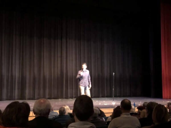 WGN TV Sports reporter and standup comedy Pat Tomasulo performing at the Beverly Arts Center for New Year's Even Dec. 31, 2019. Photo courtesy of Ray Hanania