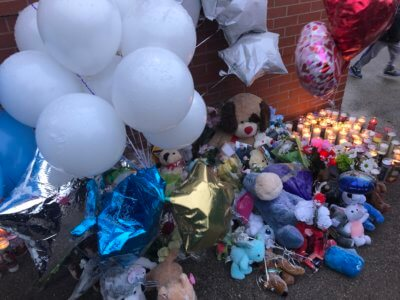 Flowers and balloons and candles placed at Liberty School in Cicero in memory of a 5 year old kindergarten student killed in a home fire on Tuesday Feb. 4, 2020. Photo courtesy of Ray Hanania