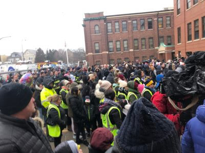 Community and residents attended a vigil at Liberty School in Cicero in memory of a 5 year old kindergarten student killed in a home fire on Tuesday Feb. 4, 2020. Photo courtesy of Ray Hanania