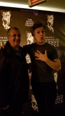 The author Ray Hanania with playwright and actor Ronnie Marmo following his brilliant performance in
