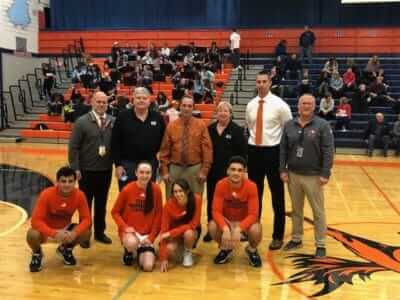 Stagg Boys and Girls Basketball programs present a check to the Illinois USO for $3,533. Pictured: Stagg Principal Eric Olsen, Tom Eyelat USO, Stagg Girls Coach Bill Turner, Fran Eyelat USO, Stagg Boys Coach Marty Strus, Stagg Athletic Director Terry Treasure.  Stagg Captains:  Kosta Kolovos, Kelsey Dwyer, Maeli Sanchez, TJ Griffin.