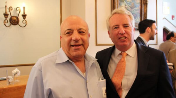 Mansour Tadros, publisher of Chicagoland's The Future News Newspaper, and Christopher Kennedy, the son of the late U.S. Senator Robert F. Kennedy, speaks at a governor's candidates forum Sept. 16, 2017 at Reza's restaurant in Oak Brook hosted by the American Muslim Task Force. Photo courtesy of Ray Hanania