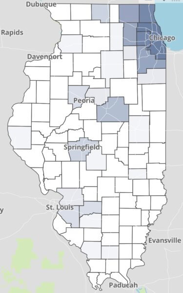 COVID-19 Illinois Positive Cases. Darker colors designate counties with the largest numbers.