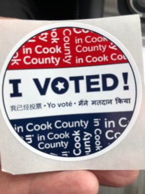Vote sticker from he 2020 election in Illinois