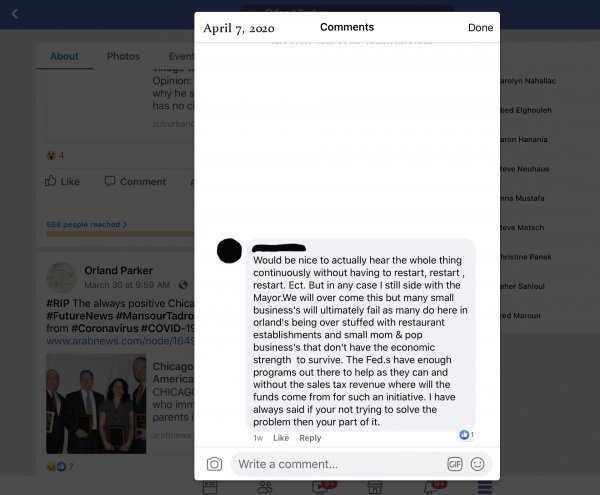 One of many posts and contacts from Orland Park residents complaining the Village Audio file was corrupted. This one is from Facebook from April 7, 2020 an 8th name of the poster is blocked out for privacy concerns,