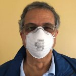 N95 Hospital quality coronavirus COVID-19 pandemic face mask.