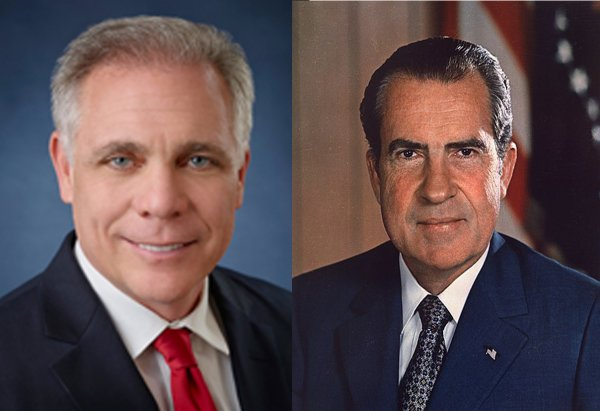 """Orland Park Mayor Keith """"Watergate"""" Pekau and President Richard M. Nixon. Both were embroiled in a scandal involving the deletion and editing of 18 1/2 minutes of tape they didn't want anyone to hear. Pekau image courtesy of the Village of Orland Park. Nixon photo courtesy of Wikipedia."""