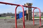 Swings were removed in Veterans Park, on Lawndale Avenue just north of the Lyons Village Hall, because they are being upgraded. The new swings won't be installed until after the ban on large gatherings, due to coronavirus fears, is lifted. Photo by Steve Metsch.