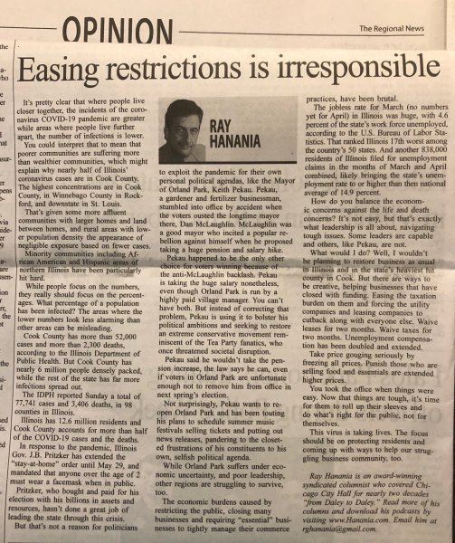 Ray Hanania's award winning column published each week in the Southwest News Newspaper group including the Des Plaines Valley News, The Southwest News-Herald, the Reporter Newspaper and the Regional Newspaper. May 14, 2020