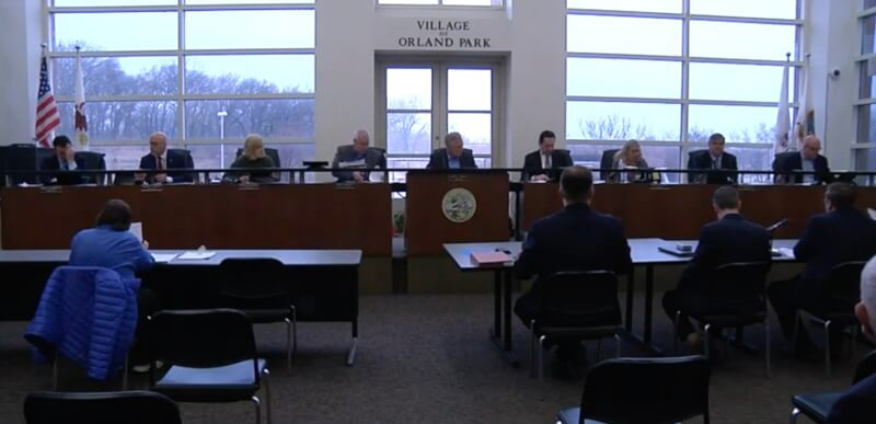 Image from the March 16, 2020 Village of Orland Park board meeting.