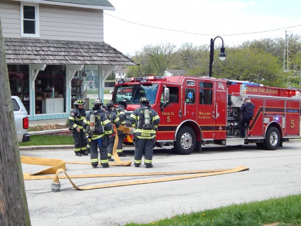 Structure fire at 143 block of Beacon in the Old Orland Historic District Tuesday May 12, 2020. Photo courtesy of the Orland Fire Protection District