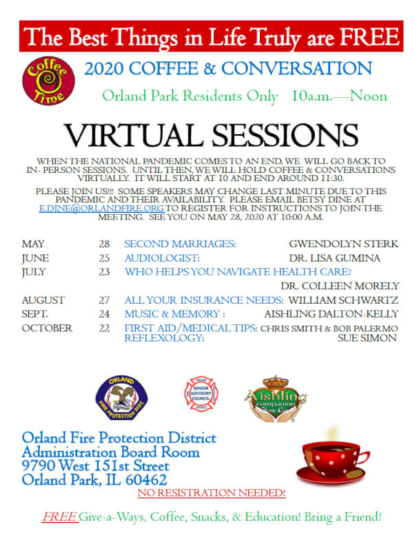 Orland Fire's popular Coffee & Conversation resumes with virtual online meetings