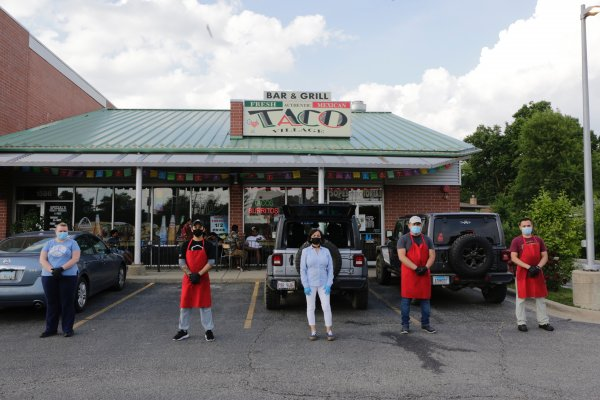 Taco Village Restaurant in Des Plaines, Illinois offers face masks to customers. Photo courtesy of Taco Village