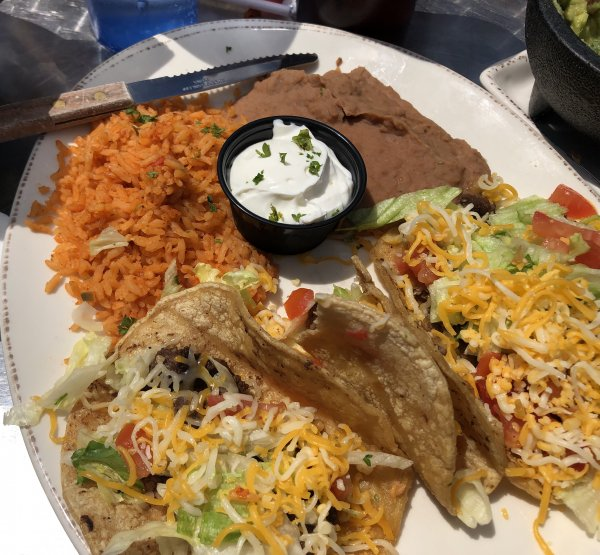 Casa Margarita, 9549 W. 151st St in Orland Park offers a wide selection of Mexican food. This is a plate of three steak tacos, rice and friend beans, with extra thin taco chips and red sauce served on the side. Photo courtesy of Ray Hanania