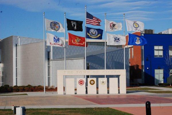 Cicero Plaza with flags. Photo courtesy of Ray Hanania