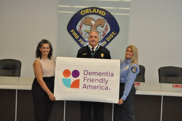 """Orland Park announces its """"Dementia Friendly America"""" status, a collaboration between the Orland Fire Protection District and Aishling Companion Home Care. July 2020"""
