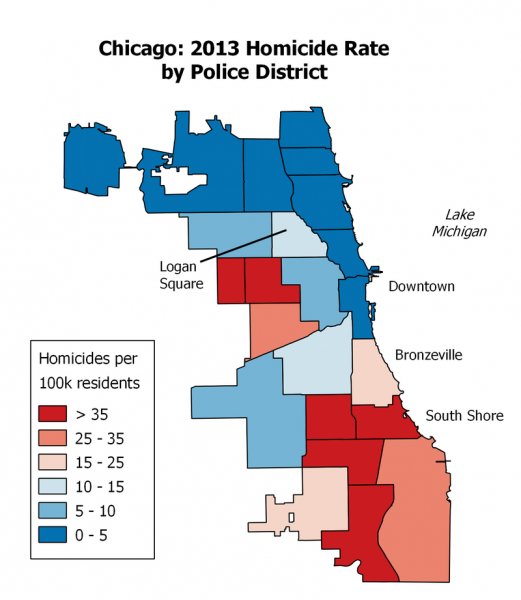 Chicago crime rates 2013. Courtesy of WIkipedia